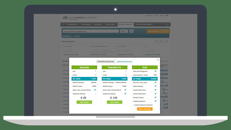 Preise - Lizenzkosten // Searchmetrics Essentials