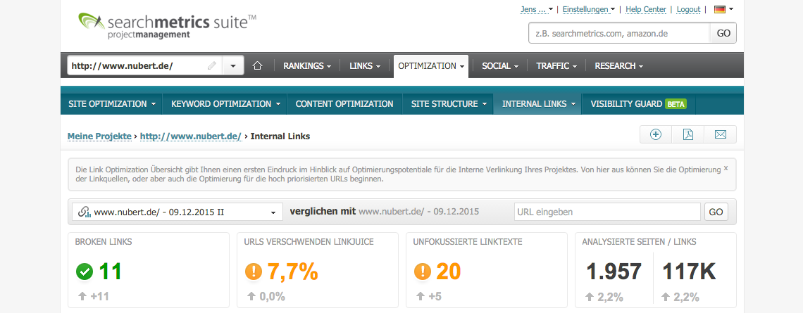 Internal Links > Überblick // Searchmetrics Suite