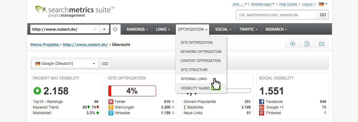 Internal Links // Searchmetrics Suite