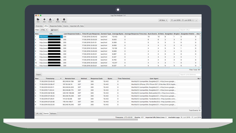 Verarbeitete URLs bewerten mit dem SEO Log File Analyser