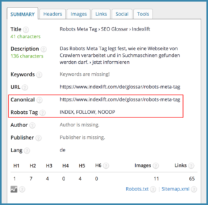 Beispiel: Robots Meta Tag und Canonical Tag // SEO META IN 1 CLICK