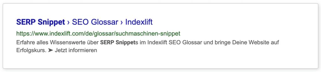 SERP Snippet-Beispiel bestehend aus Meta Title und Meta Description