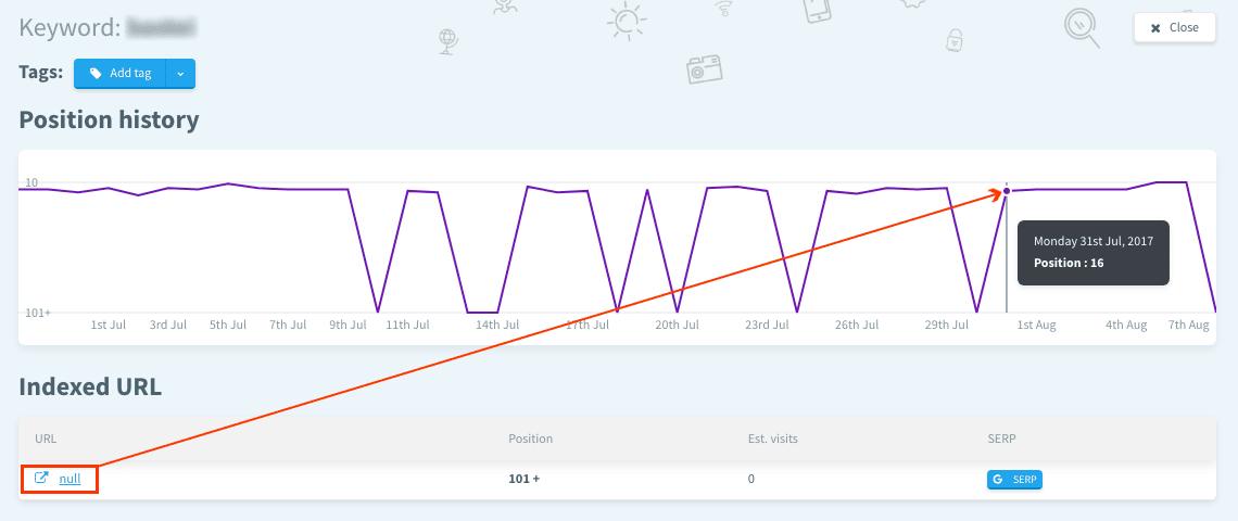 Positionshistorie ohne URL-Angabe // SERPWatcher Rank Tracker