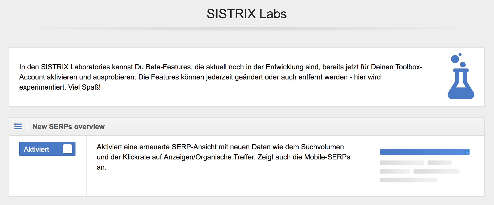 Neuer SERPS-Overview // SISTRIX Labs