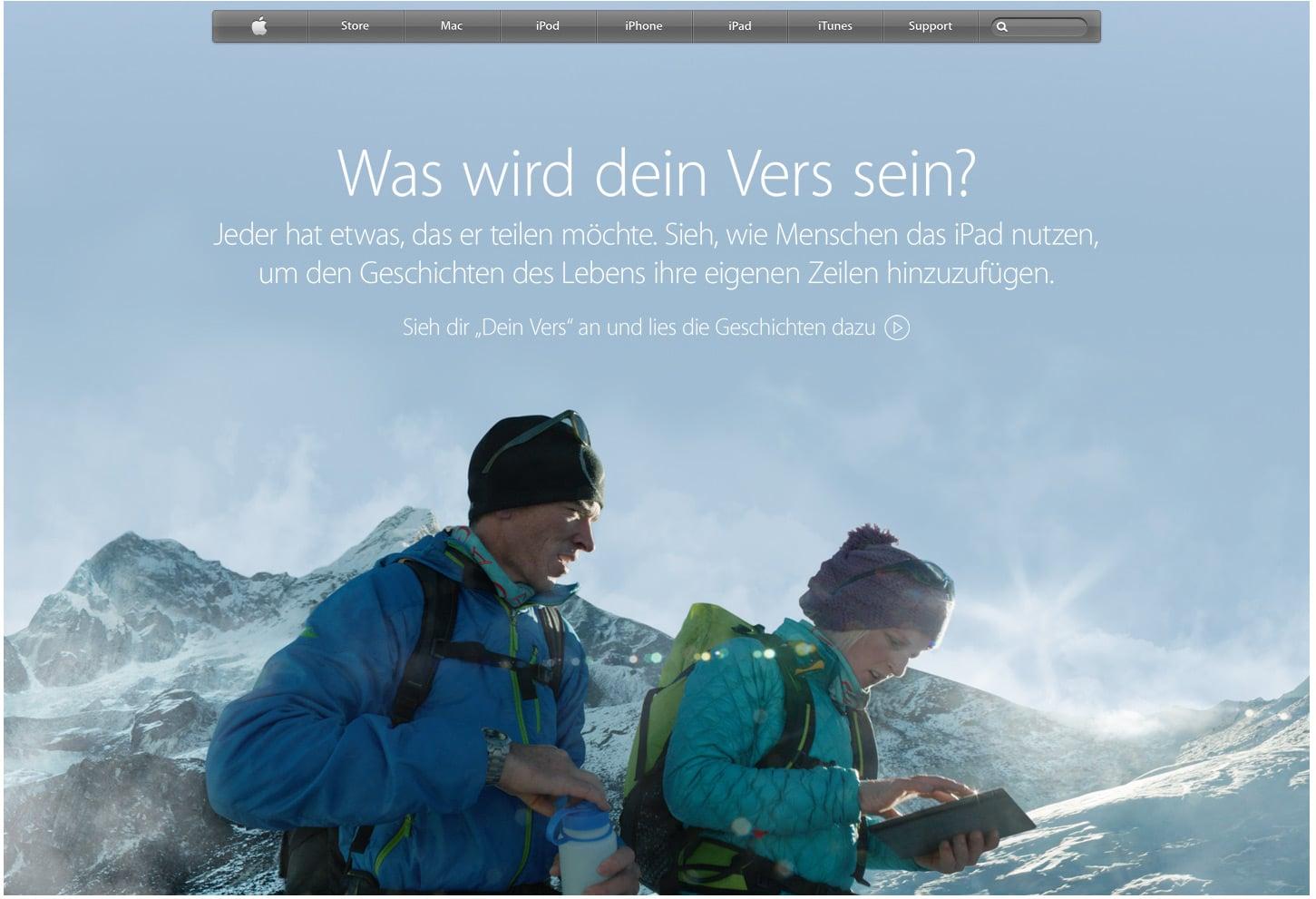 Storytelling: Was wird dein Vers sein? von Apple - Der Aufruf zum Storytelling schlechthin, der Konsument schreibt die Geschichte durch Interaktion mit dem Anbieter
