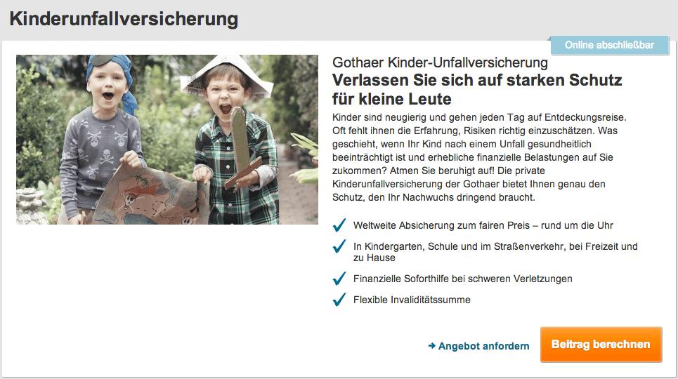 Storytelling: Kinderunfallversicherung der Gothaer - Die Bildsprache ist Emotionsträger und triggert den Nutzer zum konsumieren der Inhalte an