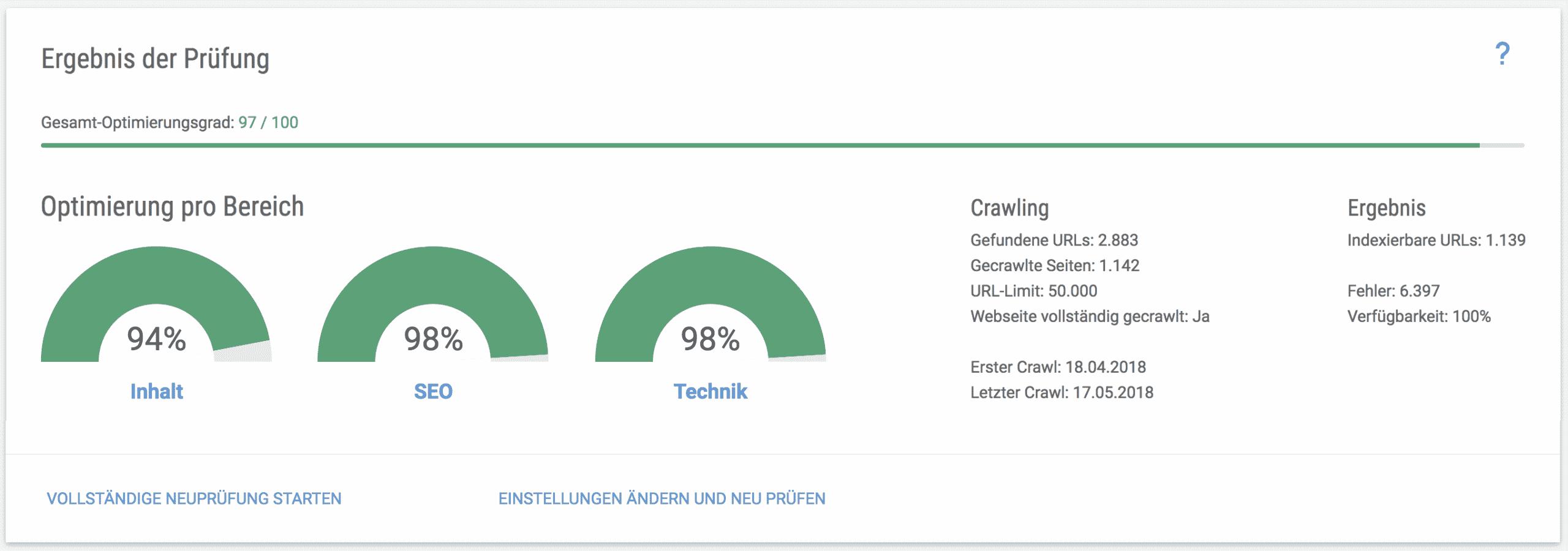 Beispiel: SEO Audit-Ergebnis // Xovi OnPage-Analyse